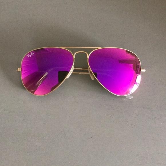 Ray Ban Accessories Rayban Aviators Mirror Pink Large Gold Metal